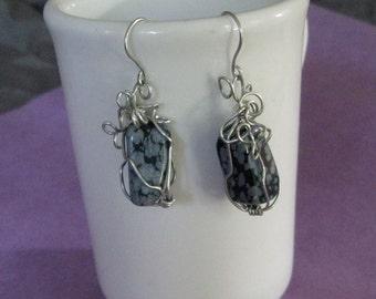 Snow flake obsidian free form wrapped asymmetrical earrings