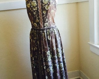 1950's Dress - Vintage 50s Miss Tall America Floral Sundress M - Falling Flowers Dress