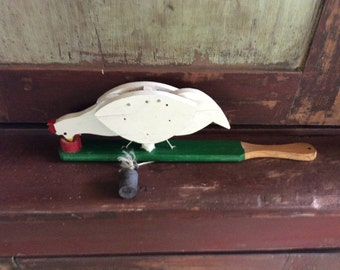 Vintage Wooden Handmade Paddle Toy Chicken Pecking Dish with Seeds