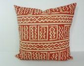 Brunt Orange Geometric Decorative Pillow Cover,  Aztec Cushion Cover, Rust, Orange, 16 x 16, 18 x 18
