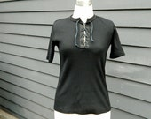black corset lace up shirt . hippie fitted ribbed hippie 60s 70s sexy neutral basic . xs small