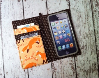 Coral Fox print iPhone wallet case with removable gel case