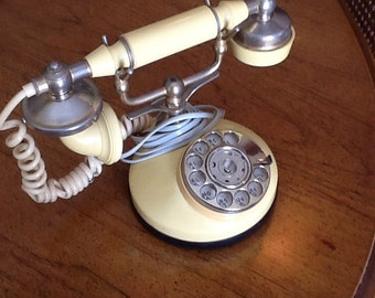 Vintage French Style Rotary Dial Telephone in yellow with metal accents