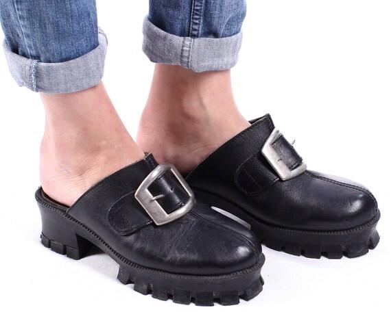 90s Platform Slip On Mules Black Leather Clogs Slingback Wide
