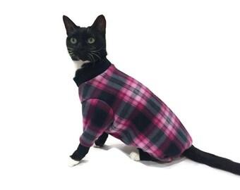 Pink and Black Plaid Fleece Cat Pajamas-Plaid Fleece Cat Pajamas--Cat Pajamas-Cat Clothing-Cat Onesie-Clothes for Cats-Pajamas for Cats