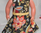 "18"" Doll Clothes pretty floral print sleeveless dress w/ yellow midriff and invisible Back Zipper"