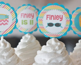 12 Cupcake Pool Summer Beach Flip Flop Party Chevron Stripe Rainbow Theme Birthday Cupcake or Cake Toppers - Ask About our Party Pack Sale