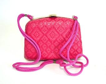Pink Box Purse - Vintage Woven Italian Crossbody Bag