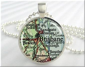 Brisbane Map Pendant Charm Brisbane Australia Travel Map Necklace Resin Picture Pendant (702RS)