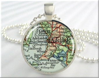 Adelaide Map Pendant Charm Adelaide Australia Travel Map Necklace Resin Picture Pendant (703RS)