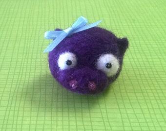 Cute Little Needle Felted Purple Pig Ooak Gift Miniature Small Animal Soft Sculpture Farm Figure Figurine