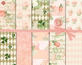 Floral Digital Paper, Shabby Chic Digital Paper, Cupcake Digital Paper, Watercolor Rose Digital Paper, Planner Sticker Paper, #15058