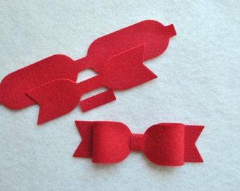 9 Piece Die Cut Felt DIY Medium Emily Bows, Choose Your Colors