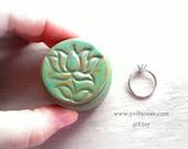 Ring Box, Fancy Pill Box, Wedding or Anniversary Gift, Small Hand Crafted Keepsake Jewelry Box Weathered Lotus Flower Ring Box Zen Spiritual