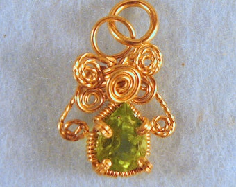 Peridot Angel in 14/20 Gold Filled Wire Wrapped Pendant Number 5 of 500