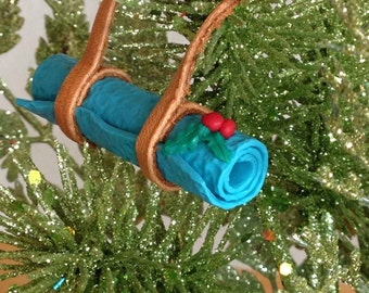 Yoga Ornament Yoga Mat Christmas Ornament Leather with Turquoise Mat and Holly - Love That Leather