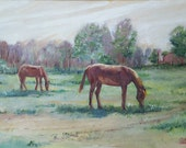 Oil Painting-Grazing Throughbreds-Original Painting by Diann