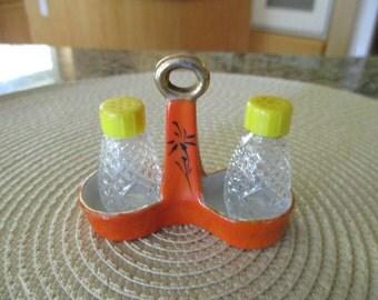 Vintage Salt & Pepper Shakers and Porcelain Stand / Holder