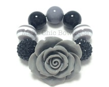 Children's Fancy Chunky Rose bracelet, Black, Grey and White Striped Flower bracelet, Princess chunky bracelet, Flower girl bracelet, OTT