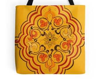 Floral Bag, Moroccan Design, Ochre Tote Bag, Yellow, Painted Door Detail, Photo Bag, Travel, Morocco, Bohemian Style Bag, Boho Tote, Gypsy