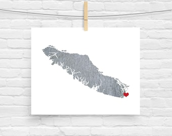 Vancouver Island British Columbia Map - Custom Personalized Heart Print - I Love Victoria - Hometown Wall Art Gift Souvenir