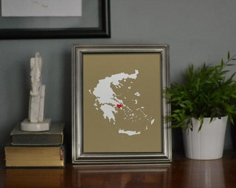 Greece Map Custom Personalized Heart Print I Love Eurpoe Hometown Wall Art Gift Athens Souvenir