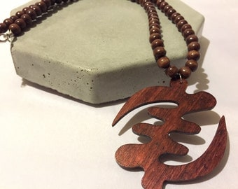 Mens Beaded Necklace With Gye Nyame Pendant