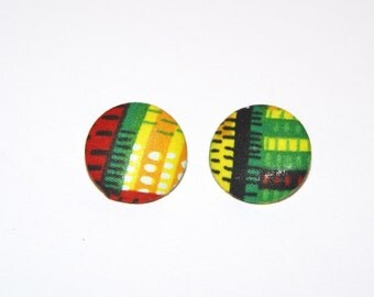 Fabric Covered Button Earrings- Kente
