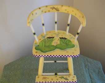 Hand Painted Child's Chair / Toddler Youth Chair / Frogs / Dragonflies / Yellow / Purple