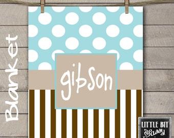 Personalized Baby Blanket Announcement Monogrammed Custom Blanket Baby Shower Gift Stripes