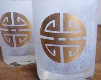 Gump's glasses, rocks glasses, bucket glasses, San Francisco store, frosted glasses, barware, cocktail glasses, gold leaf glasses