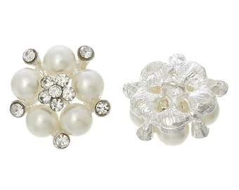 Rhinestone Pearl Buttons with Shanks - Single Hole - 22x21mm - 2pcs - Ships IMMEDIATELY from California - A430