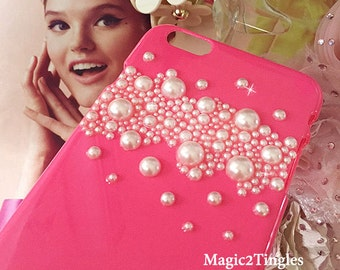 Lovely Bling StarDust Pretty Pearl Candy Shell Hard Case Back For iPhone 6 or 6 Plus Pink Purple Blue Green