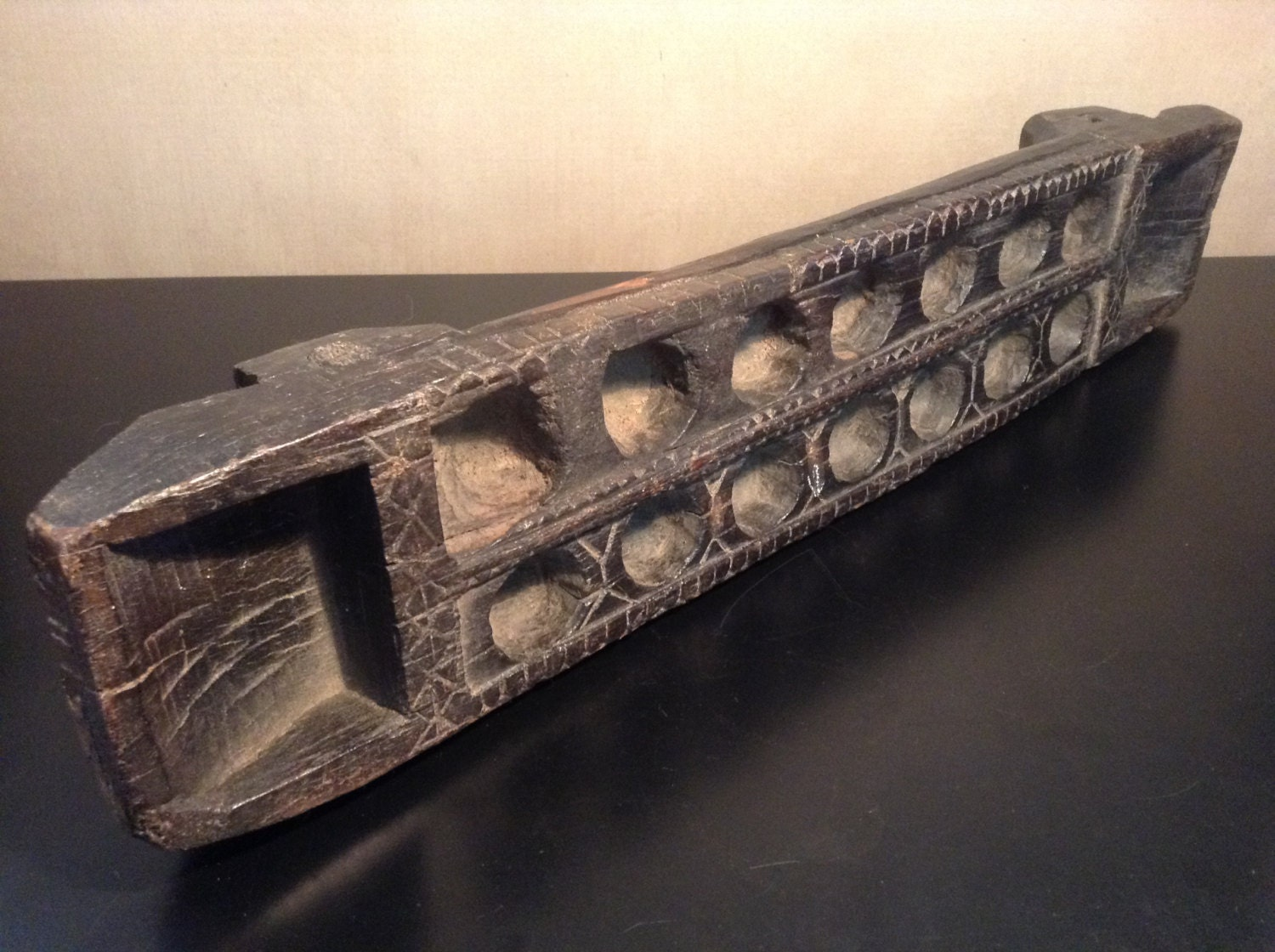 Vintage Hand Carved Wood Mancala Board From Africa