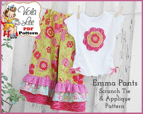 Toddlers Ruffled Pants Pattern-Capris Pattern. Girl's Sewing Patterns, pdf Sewing Pattern . Girls Ruffle Pants Pattern. Clothing Patten Emma