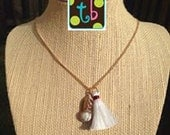 SALE!! Gold White and Crimson Tassel Necklace Perfect for Alabama Football Games