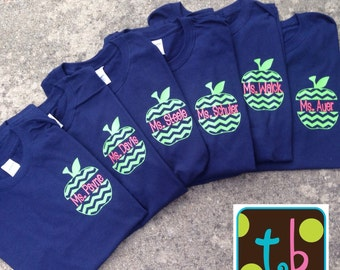LONG SLEEVES Personalized Chevron Monogrammed Apple Back to School Teacher Shirt Tee