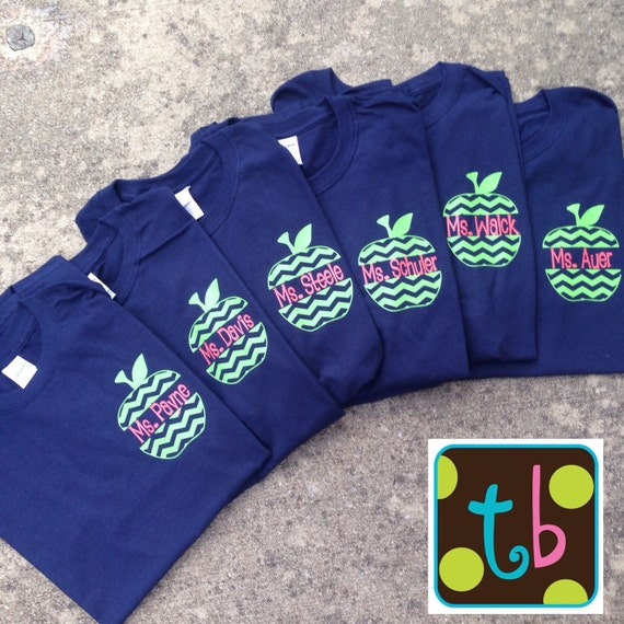 Personalized chevron monogrammed apple back to school teacher for Custom school t shirts