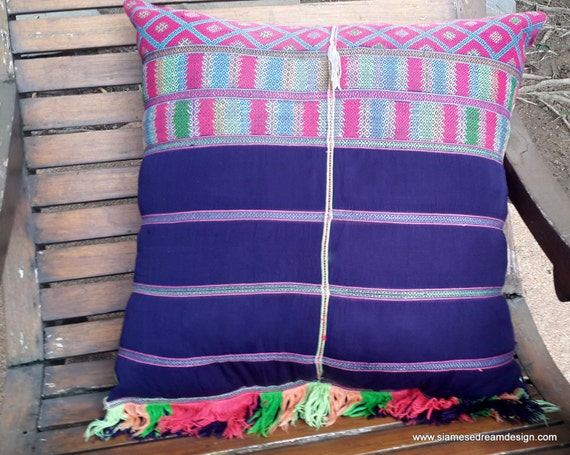 XL Fringed Floor Pillow / Boho Cushion Cover in Colorful