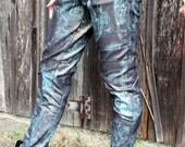Sleek Sexy Men's Blue & Gold Patterned Stretch Denim Skinny Pants