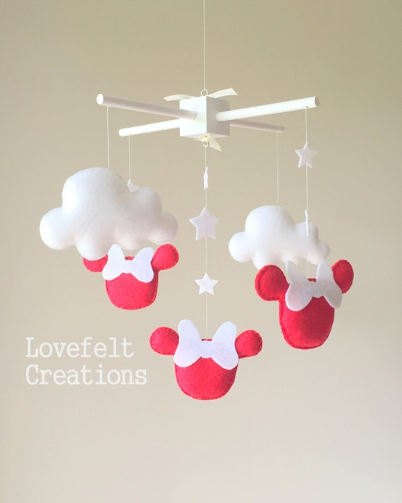 Baby crib mobile baby mobile minnie mouse by lovefeltmobiles - Minnie mouse mobel ...