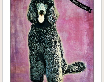 Standard Poodle Printable-Purple-8x10 and 5x7 Instant Download