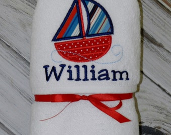 Personalized Sailboat Hooded Baby Towel