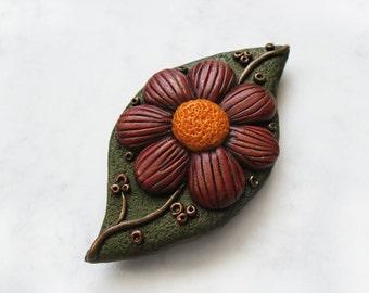 Autumn Flower polymer clay brooch, Leaf brooch, Flower brooch, Autumn brooch, Gift for Her, OOAK brooch, Elegant brooch, Unique accessory