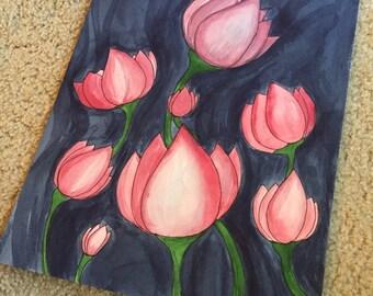 Lotus Flowers Original Watercolor Art