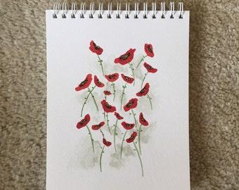 Red Poppies Original Watercolor Art