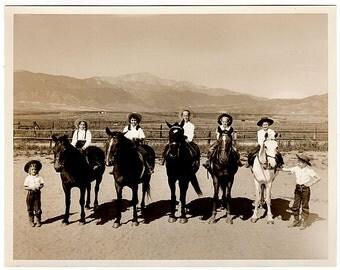 Vintage Colorado Photo, Mountain Photo, Horse Photo, Kids Horseback Riding, Colorado Springs Photo, Stewart's Photographers, Sepia Photo