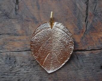 Pretty VINTAGE Leaf dipped in gold PENDANT charm hippie bohemian boho