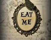 Alice In Wonderland Necklace Eat Me Alice's Adventures in Wonderland  Literature Pendant Clock Charm