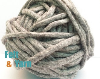 Natural felted yarn 10mm, felt yarn, yarn for crafts, 10mm yarn, natural 50 yards